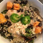 Sauteed greens quinoa black beans sweet potato tahini sauce