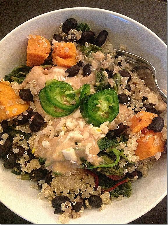 Sauteed greens quinoa black beans sweet potato tahini sauce